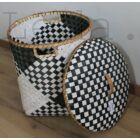 Fekete-fehér Bambusz Tárolókosár 34x43 cm