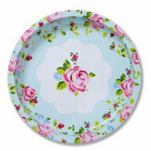 Vintage Floral Kerek Fémtálca