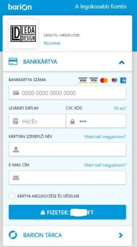 Barion fizetési oldal