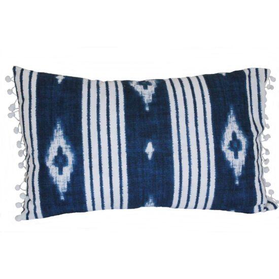 Kék-fehér vászon párnahuzat 30 x 50 cm