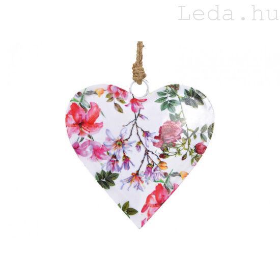 Virágmintás  Fém Szív - Nagy