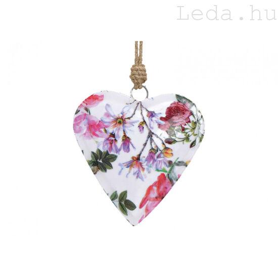 Virágmintás  Fém Szív - Kicsi