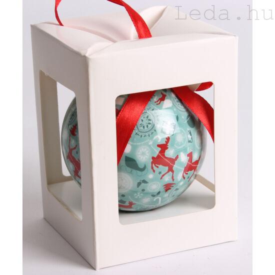 Karácsonyfadísz Díszdobozban - Türkiz  7,5 cm