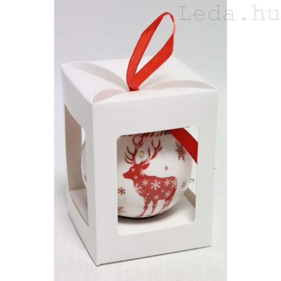 Karácsonyfadísz Díszdobozban - Piros Rénszarvas  7,5 cm