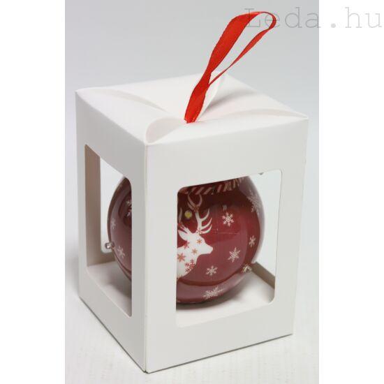 Karácsonyfadísz Díszdobozban - Fehér Rénszarvas  7,5 cm