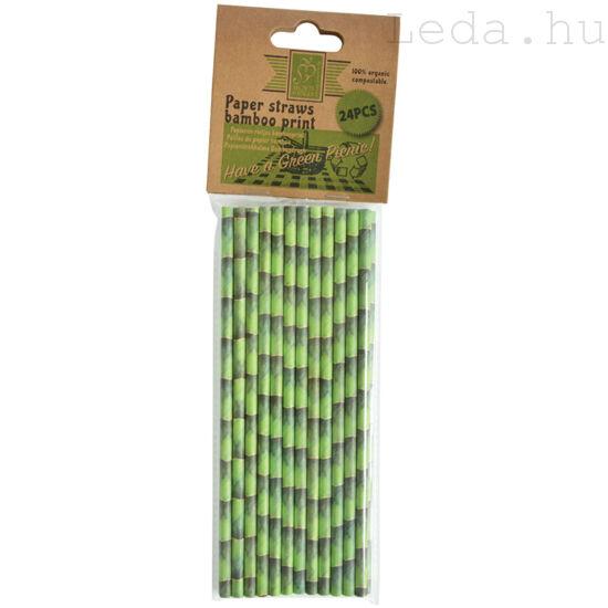 Bambusz mintás szívószál - 24 db