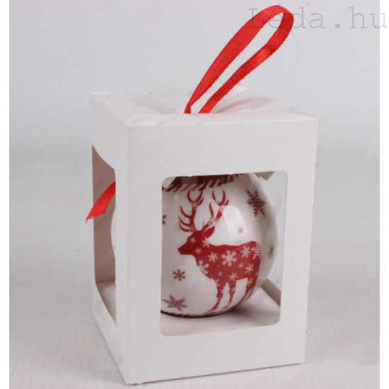 Karácsonyfadísz Díszdobozban - Bordó Rénszarvas  7,5 cm
