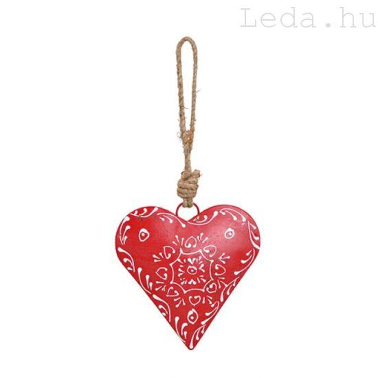 Dombormintás  Piros Szív Ajtódísz - Kicsi