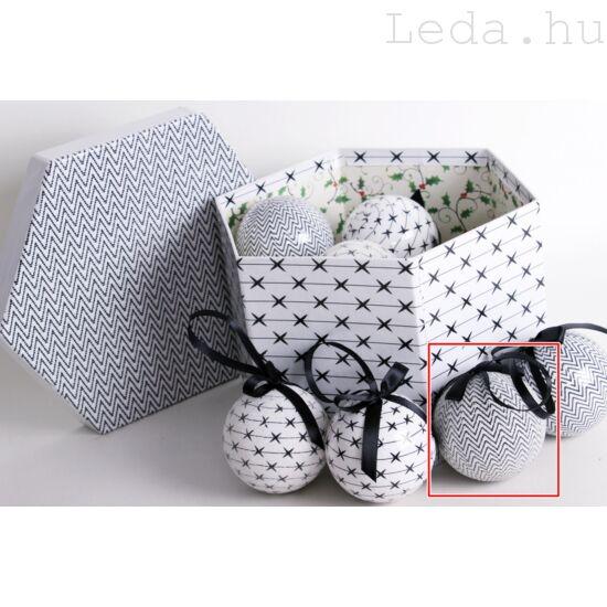 Fekete-fehér ZigZag Gömb Karácsonyfadísz - 7,5 cm