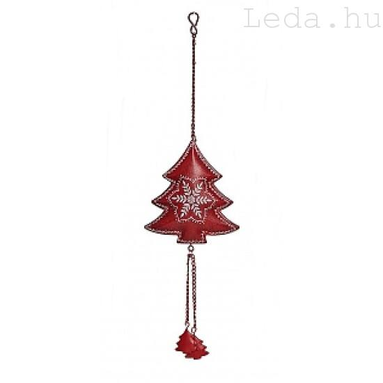 Fenyőcske Hópihés Fém Karácsonyfadísz