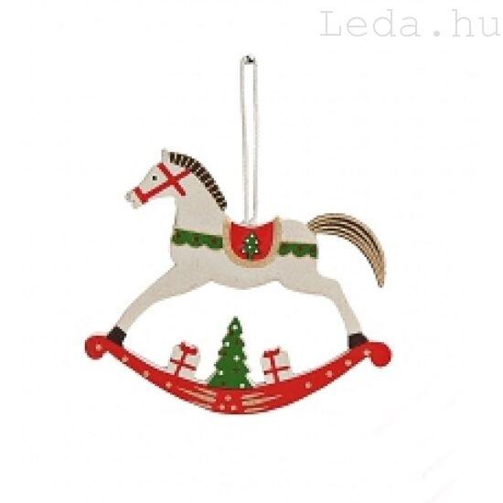 Fehér hintaló fa karácsonyfadísz - Közepes