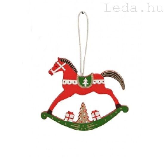 Piros Hintaló Fa Karácsonyfadísz - Kiözepes