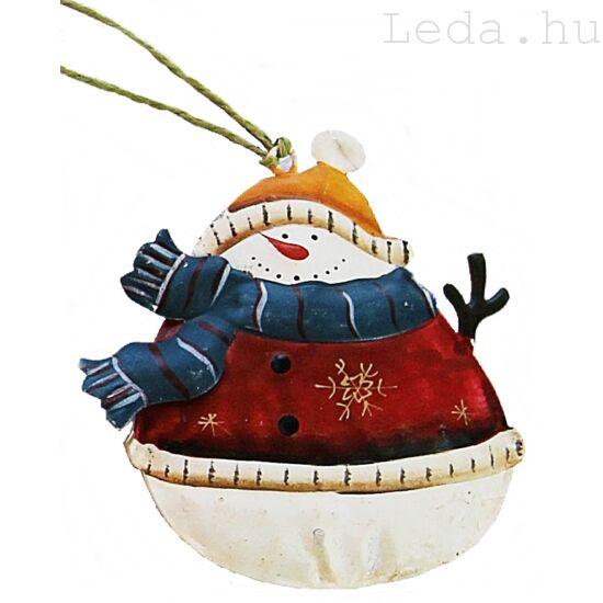 Piros Hóember Fém Karácsonyfadísz