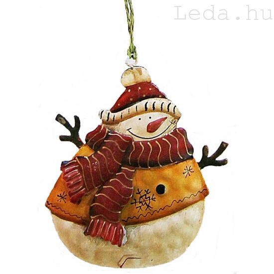 Sárga Hóember Fém Karácsonyfadísz