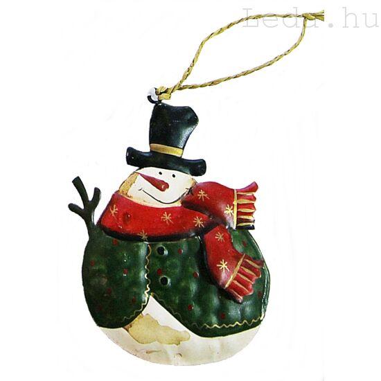 Kalapos Hóember Fém Karácsonyfadísz