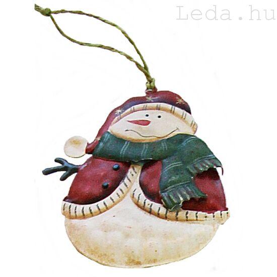 Didergő Hóember Fém Karácsonyfadísz