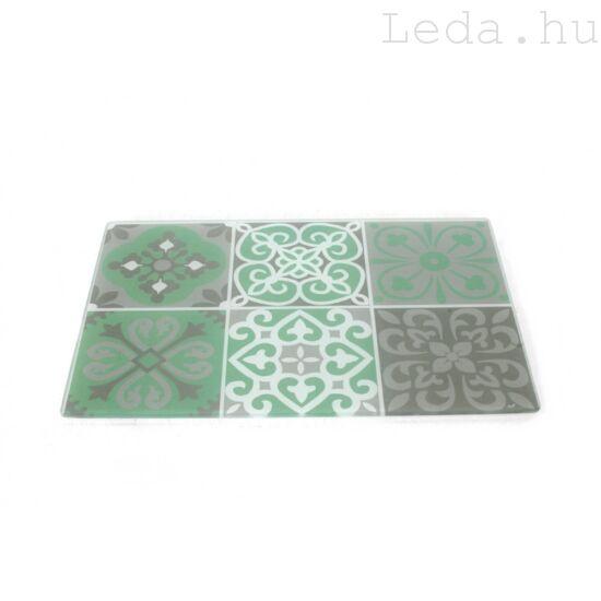 Green Patchwork Üveg Vágódeszka - 20 x 30 cm