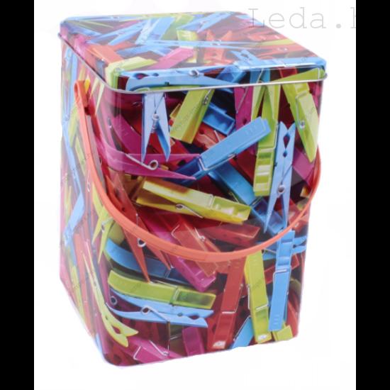 Csipesztartó Fémdoboz - színes