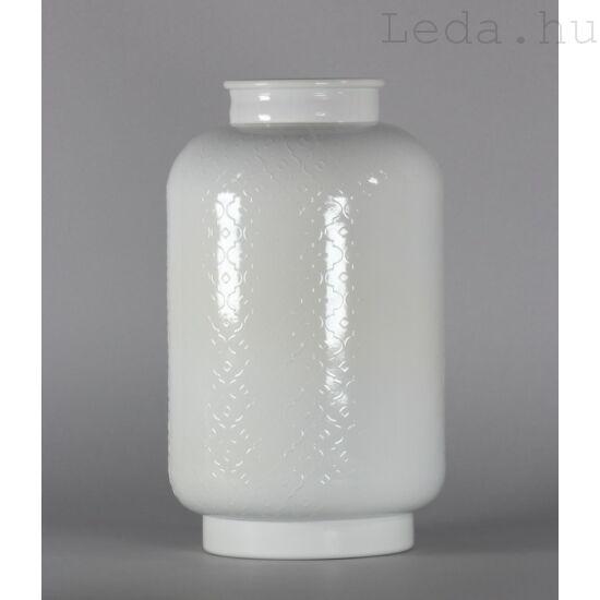 Virágmintás fehér üvegváza